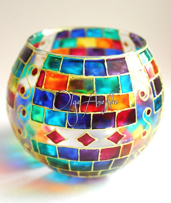 Mosaic Vase Candle Holder Rainbow Stained от RomanticArtGlass