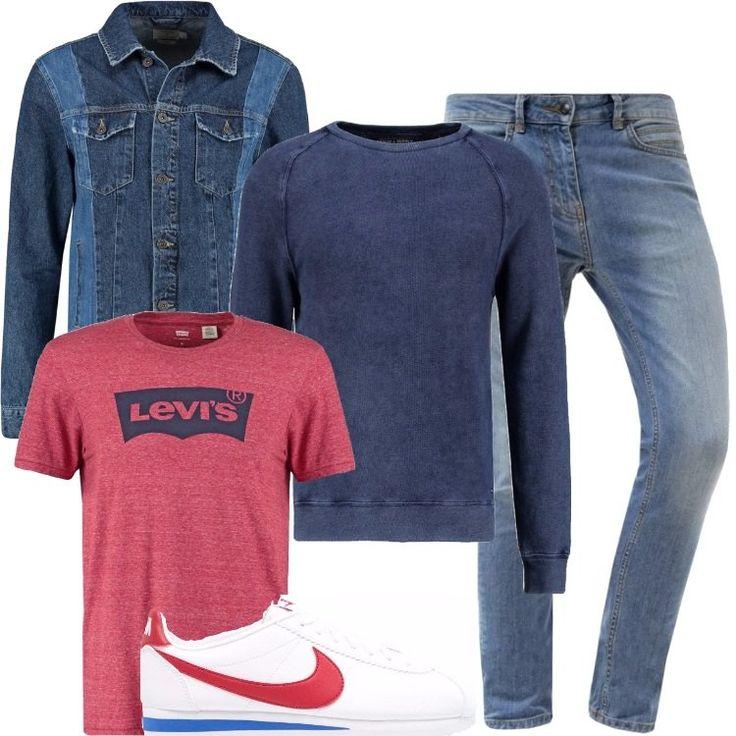 Completo comodo, indicato per le giornate di relax o per un weekend fuori casa. Giacca di jeans, abbinata ad una felpa leggera, nella nuance del blue con collo tondo, jeans modello skinny, con possibilità di risvoltare le pieghe, sneakers basse di pelle, con logo sul laterale della Nike e suola a contrasto.