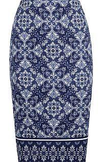 Indigo color pattern skirt :-) Tile-print pencil skirt
