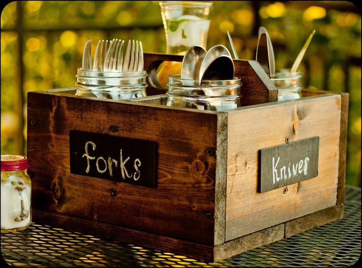 For a rustic wedding. At the ends of the buffets