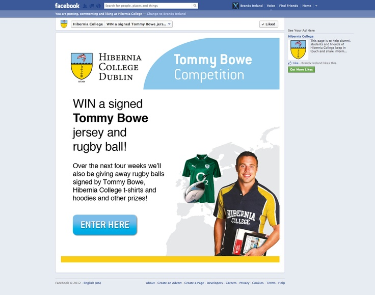 Hibernia Tommy Bowe Facebook Competition