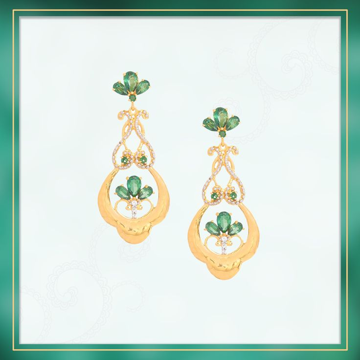 Classy and eternal, this pair of Tsavo Topaz Earrings with White Topaz in Gold Plated Sterling Silver is all you need to complete your evening attires   Shipping across India