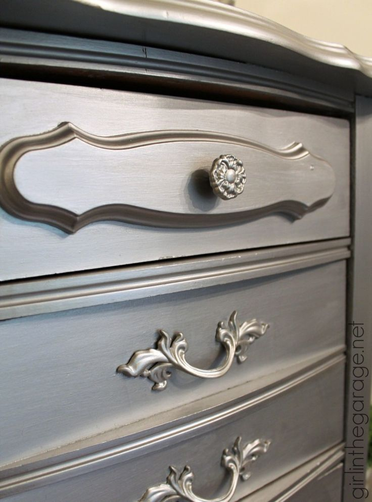 Silver Metallic Paint on Dresser | Modern Masters Project by Girl in the Garage