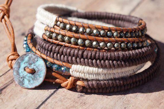 Boho Stack Leather Wrap Bracelet 5X wrap Bohemian