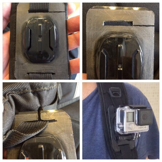 DIY GoPro base plate POV mount for my backpack #GoPro #mount