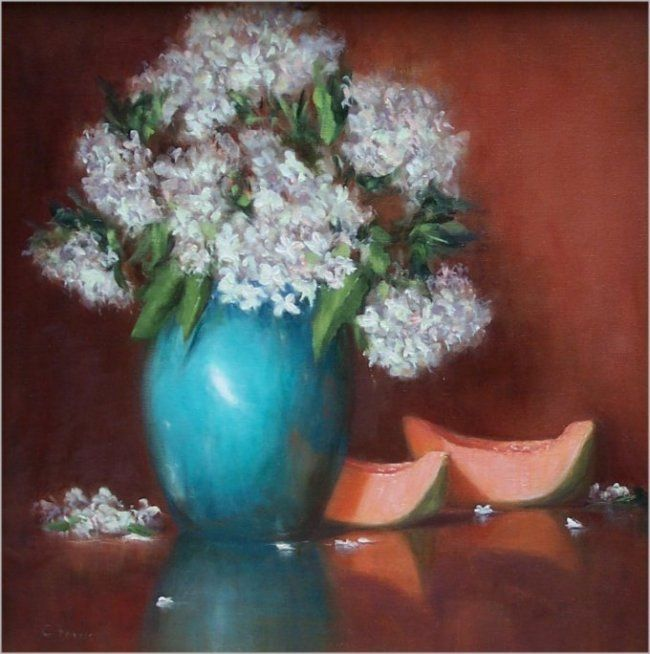 Blue Vase and Melon, 18x18, oil. Available.