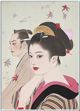 """Japanese artist Shimura Tatsumi's work feature stunningly simple yet refined images of the """"Japanese beauties"""" or """"bijin-ga."""" Quoting Phillip Roach of..."""
