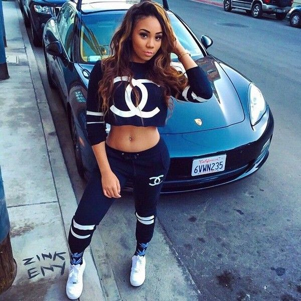 Chanel Tracksuit Two Piece Black White Dope Pretty Girl Swag Fashion... ❤ liked on Polyvore