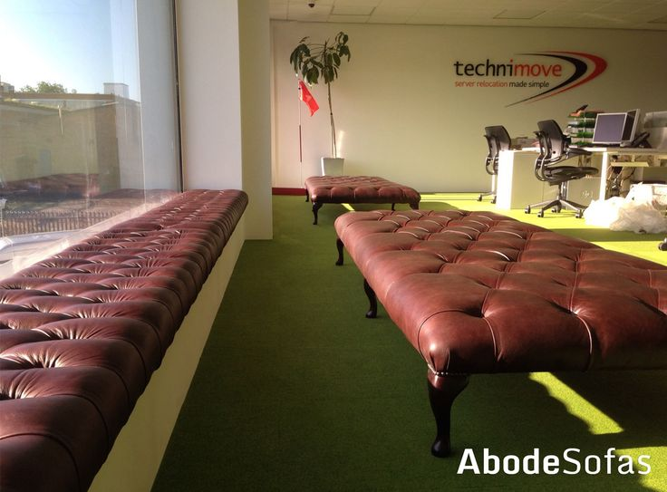 With luscious green carpets to make the room bright and cheerful TechniMove also have some of our extra large Footstool and Window Seating in a rich brown leather | Abode Sofas