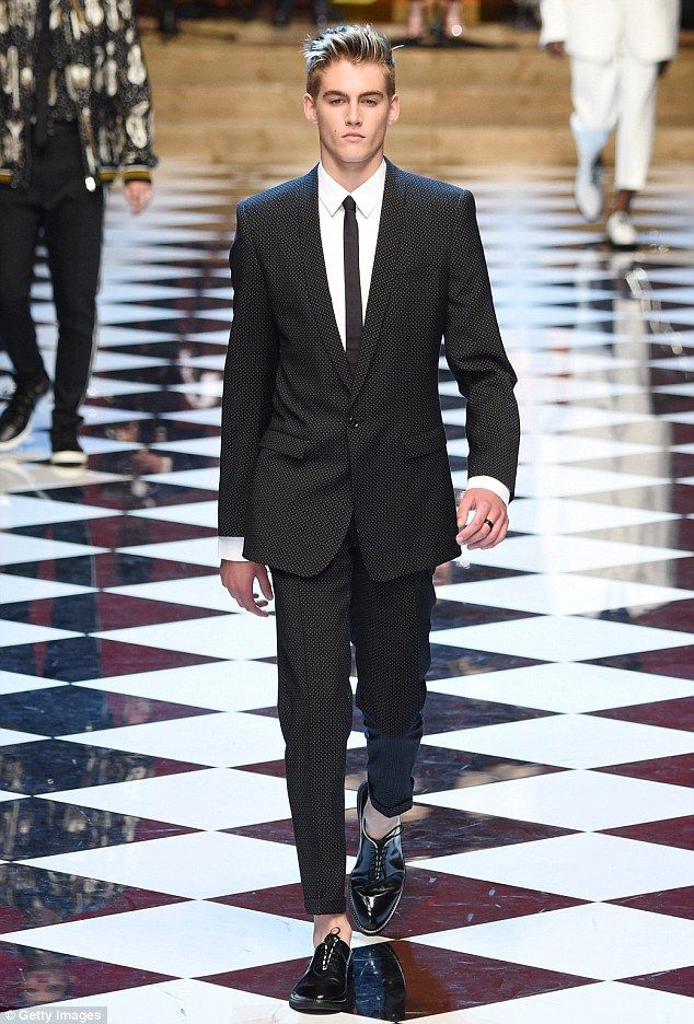 His mother's son: Following in his mother Cindy Crawdford's footsteps, Presley Gerber had snapped up by Dolce and Gabbana to help launch their Spring/Summer 2017 collection at Milan Men's Fashion Week