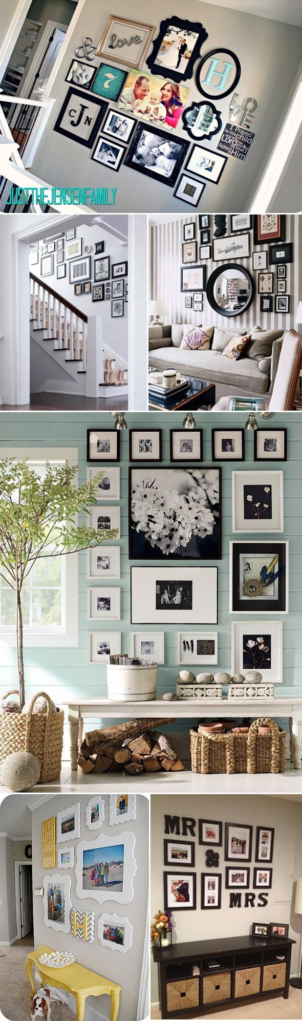 Photo wall Ideas - would be perfect around or with my new mirror