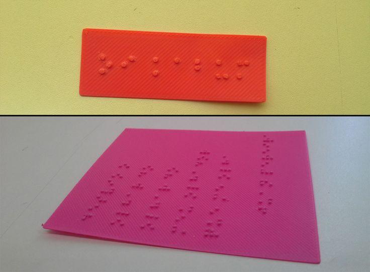 Teste de impressão 3D de escrita em Braille. Material: ABS rosa. Impressora 3D: Metamaquina 2.