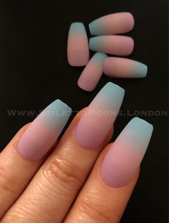 Matte Ombre Pink Blue Ballerina Long False Nails 24 Pieces Ombre Nails Glitter Ballerina Nails Nails