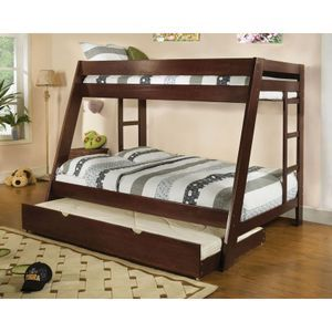 Arizona Light Espresso Kids Twin Full Bunk Bed with Trundle