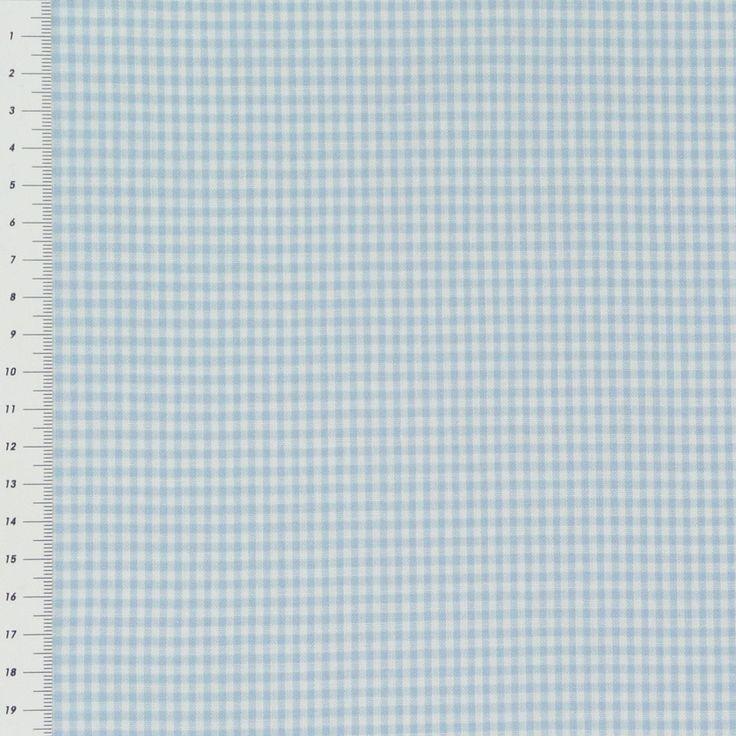Baumwollstoff kariert weiß hellblau 2mm Gardinenstoffe Dekostoffe