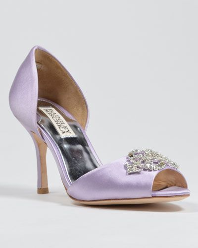 Salsa Jeweled Bridal Shoes lavender purple heels / pumps  from Badgley Mischka in nine colors for the bride to wear on her wedding day