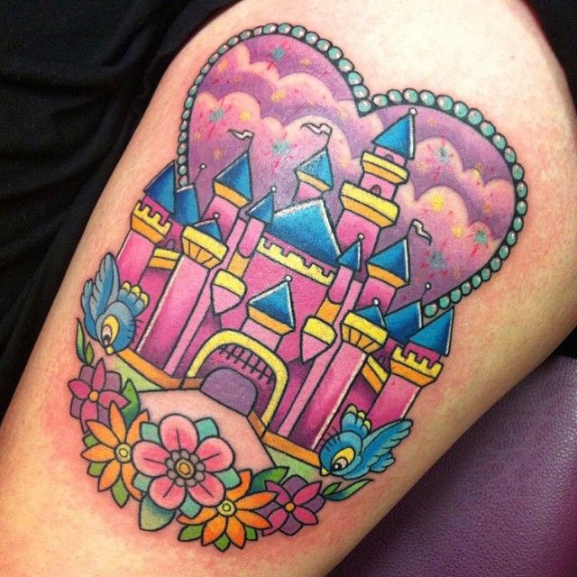 Pretty and pink castle done by @sarahktattoo ✨ #inkeddisney