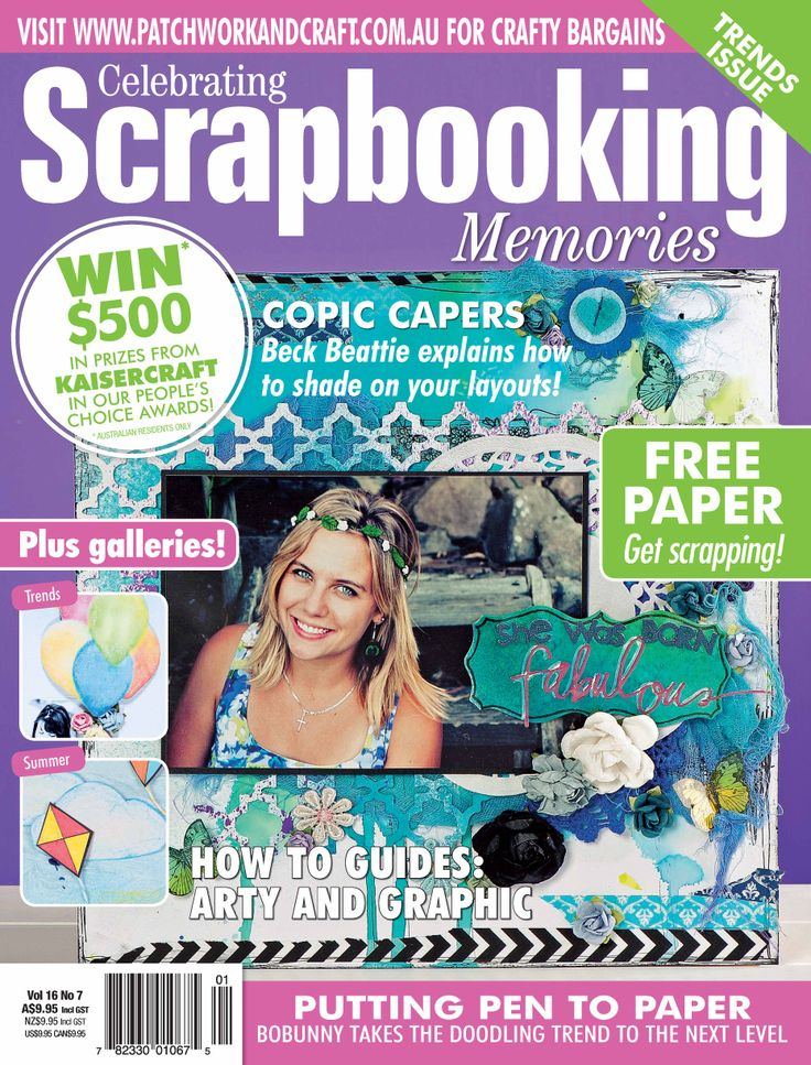 Australian Scrapbooking Memories – Volume 16 No.7. Australia's number one scrapbooking magazine, Scrapbooking Memories is the ultimate resource for all your scrapbooking needs. With its large, glossy, coffee-table format, Scrapbooking Memories ensures readers are always informed of the hottest trends, latest-release products, innovative photography ideas, time saving tips and more.