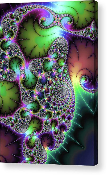 Jewel colored Fractal Acrylic Print for sale. Abstract art with fascinating spirals and floral elements, stunning jewel tones (green, purple and many more). The image gets printed directly onto the back of a sheet of clear acrylic. The image is the art - it doesn't get any cleaner than that! Matthias Hauser - Art for your Home Decor and Interior Design.