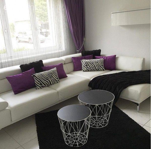 Beyaz, Halı, Köşe koltuk, Mor, Oturma Odası, Sehpa, Siyah