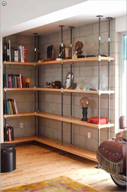 Industrial Built-in Metal and Reclaimed Wood Bookcases  furniture