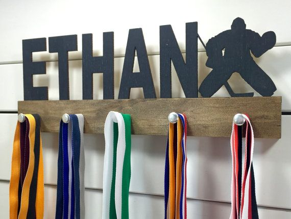 Personalized Hockey Medal Display by PineconeHome on Etsy