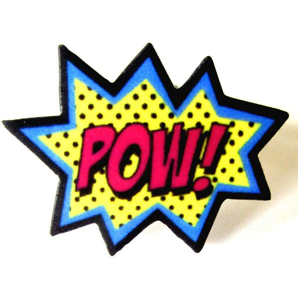 Pow Ring by Dolly Cool Comic Sound FX Effects style ($10) ❤ liked on Polyvore featuring jewelry, rings, accessories, text, acrylic charms, comic book, charmed comic book, charm rings and lucite jewelry