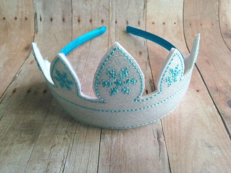 Frozen Snowflake Headband Tiara in 2 Sizes Embroidered White