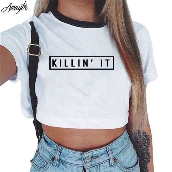 Awaytr Women's Summer Letter Printed Crop Top 2017 Short Sleeve Cotton T  Shirts Brand New Casual