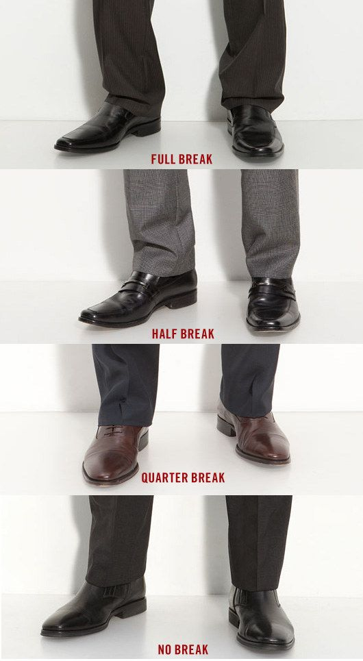 Dress for success. FYI - Taller and thinner men should choose more of a break to give an impression of greater mass and gravity. Shorter and thicker men, including more muscular men, should choose less of a break to create an impression of greater and leaner height.