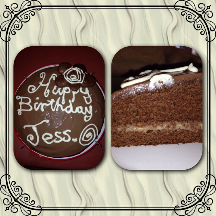 Jess's bday cake. GF chocolate with banana filling topped with chocolate covered banana.