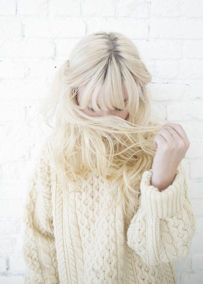 Blond polaire frange