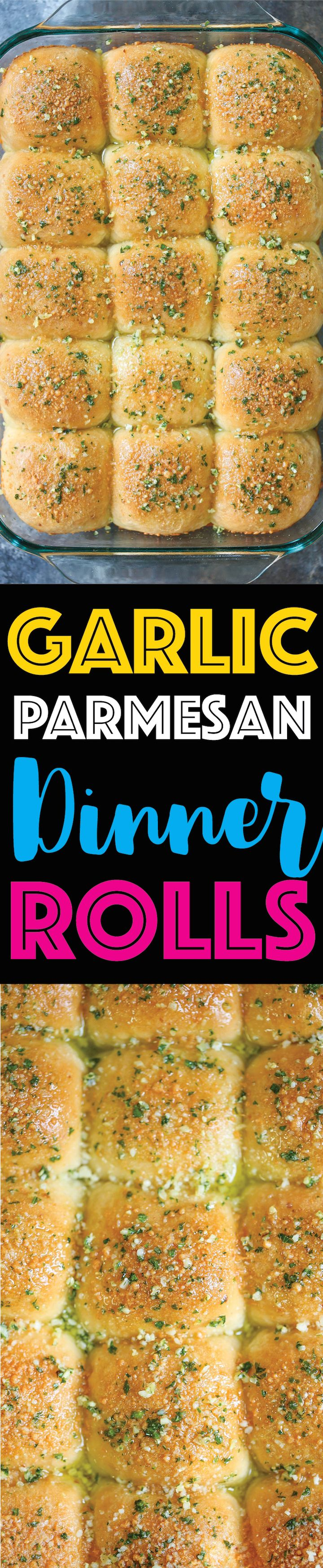 Garlic Parmesan Dinner Rolls - CLASSIC dinner rolls, except made even BETTER with garlic and grated Parmesan cheese! Soft, tender, warm, and buttery!!!