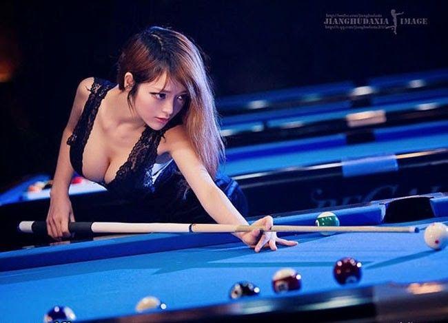 Sexy Ass Thong Near Billiard Table Stock Photo