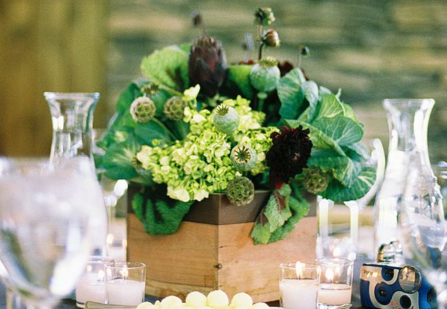 Centerpiece with Vegetables | Photo: Leo Patrone Photography // Featured: The Knot Blog