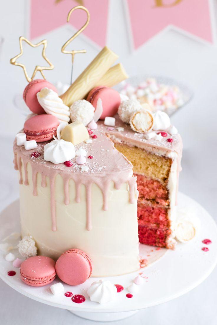 Candy Drip Cake Geburtstagstorte mit Himbeeren und Kokosnuss Madame Dessert   – Geburtstagskuchen   Bday Cakes