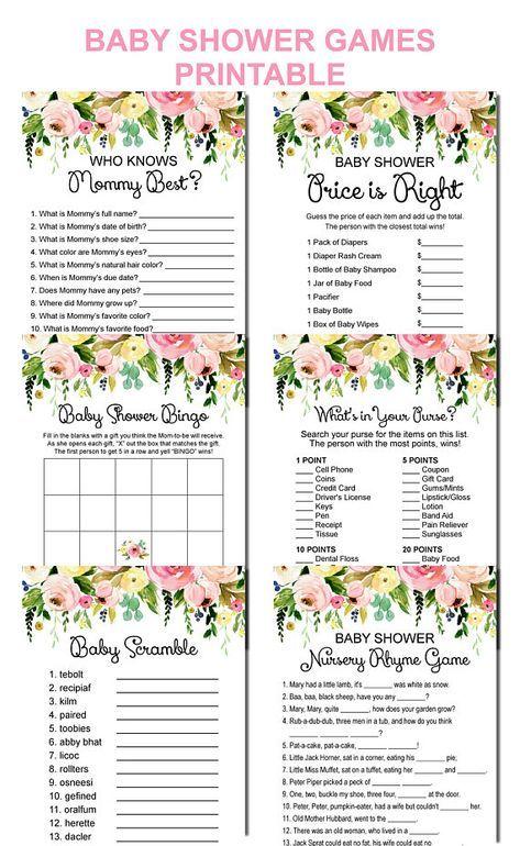 Floral Baby Shower Games Bundle Printable, Garden Baby Shower Games Package, 6 Games Printable, Instant Download C37
