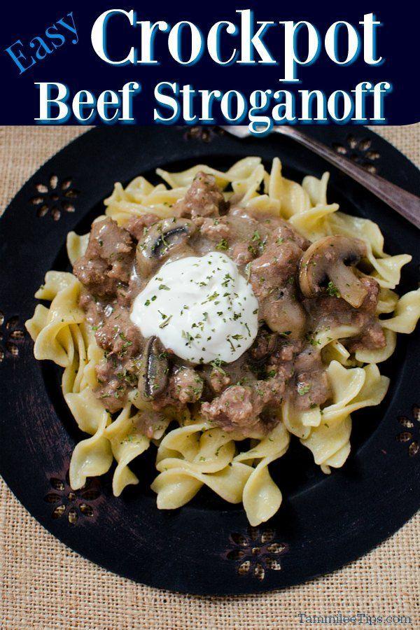 Best Easy Crock Pot Slow Cooker Beef Stroganoff Recipe In 2020 Beef Stroganoff Easy Slow Cooker Beef Stroganoff Beef Stroganoff Crockpot