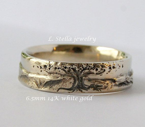 Mountain Lake Mans ring of 18K gold and sterling silver Mans