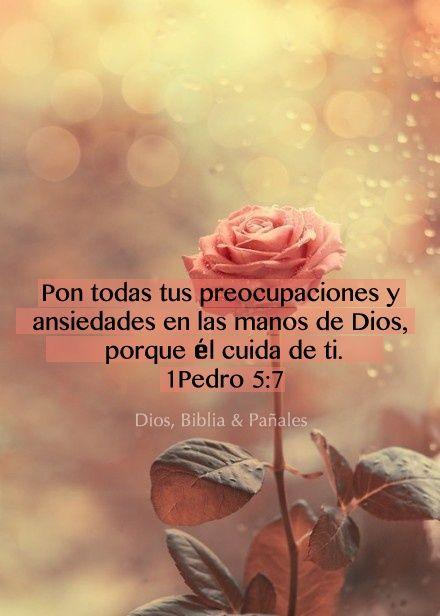 pon todas tus preocupaciones y ansiedades en las manos de Dios, porque El cuida de ti.. 1 Pedro 5:7 /Frases ♥ Cristianas ♥