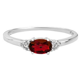Petite Oval Cut Garnet Gemstone Diamond White Gold Ring Available Exclusively at Gemologica.com