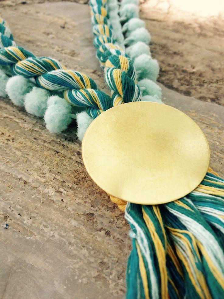 Pom Pom and brass necklace
