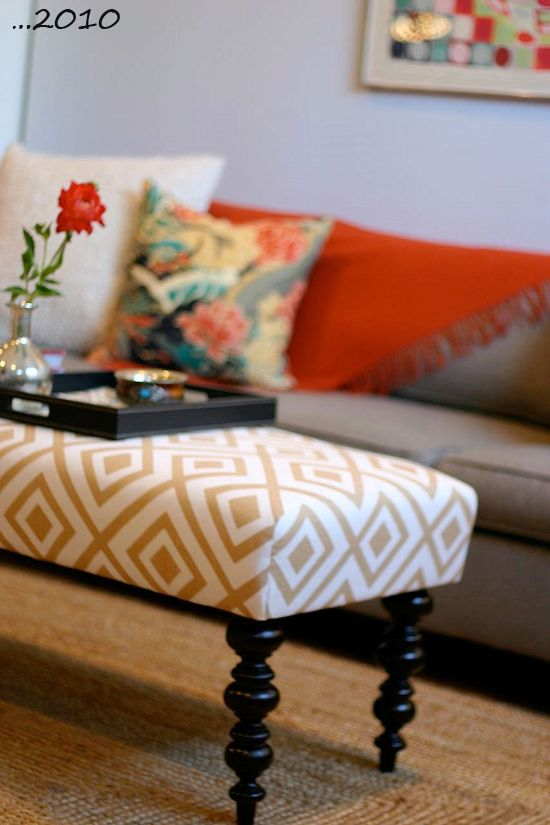 Design manifest coffee table ottoman la fiorentina tan white geometric pattern