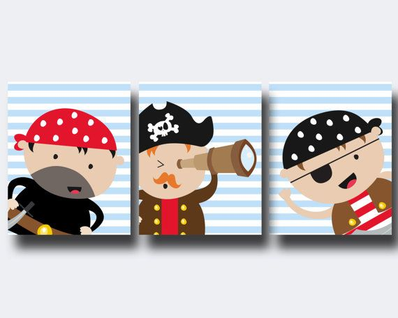 Pirate Nursery Wall Print, Pirates Wall Art Prints, Blue Red Nursery Prints, Baby Boy Nursery Wall Art Print and Bedroom Decor N213,214,215