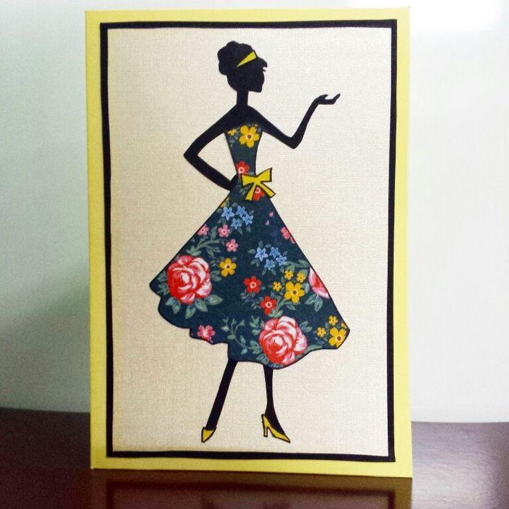 Fashion Silhouette Greeting Card  #fashion #silhouette #floral #dress #lady #greetingcard #card #handmade #handmadecards #handicrafts #petalsandperfumecards