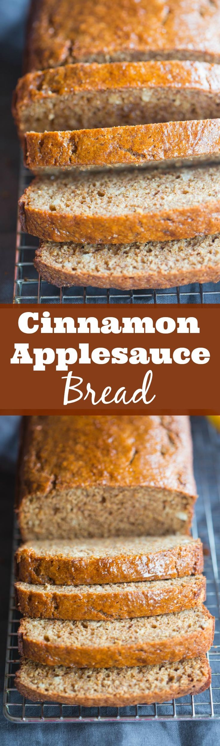The BEST Cinnamon Applesauce Bread! Bakery style and made with whole grains