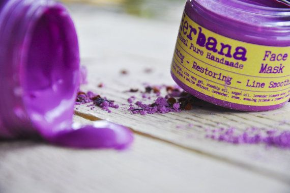 Firming - Restoring & Line Smoothing Face - Neck Mask Revitalization - Rejuvenation - Regenaration Purple Clay, Rosehip Oil and Aloe Vera gel