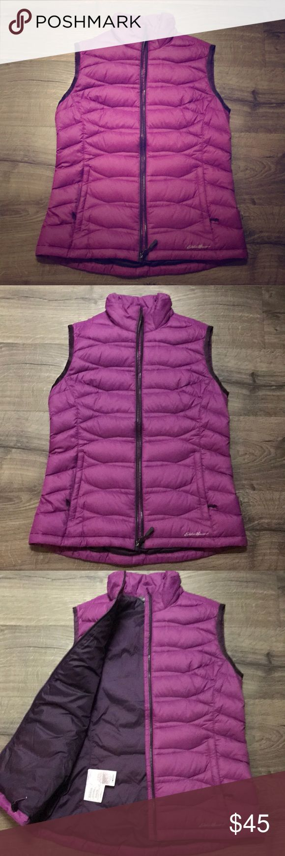 Eddie Bauer down vest Nylon vest with 80% down fill, collar is polyester fill. Pinky/purple outer with plum lining, piping and zipper Eddie Bauer Jackets & Coats Vests