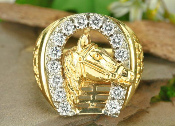 10k or 14k Yellow Gold Impressive Ladies Lucky Horse with Horseshoe Ring