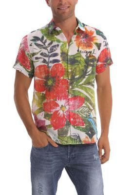 Desigual men's Flores short-sleeved shirt. An item for the boldest Desigual men who prefer their garments with more graphics so they don't go unnoticed.